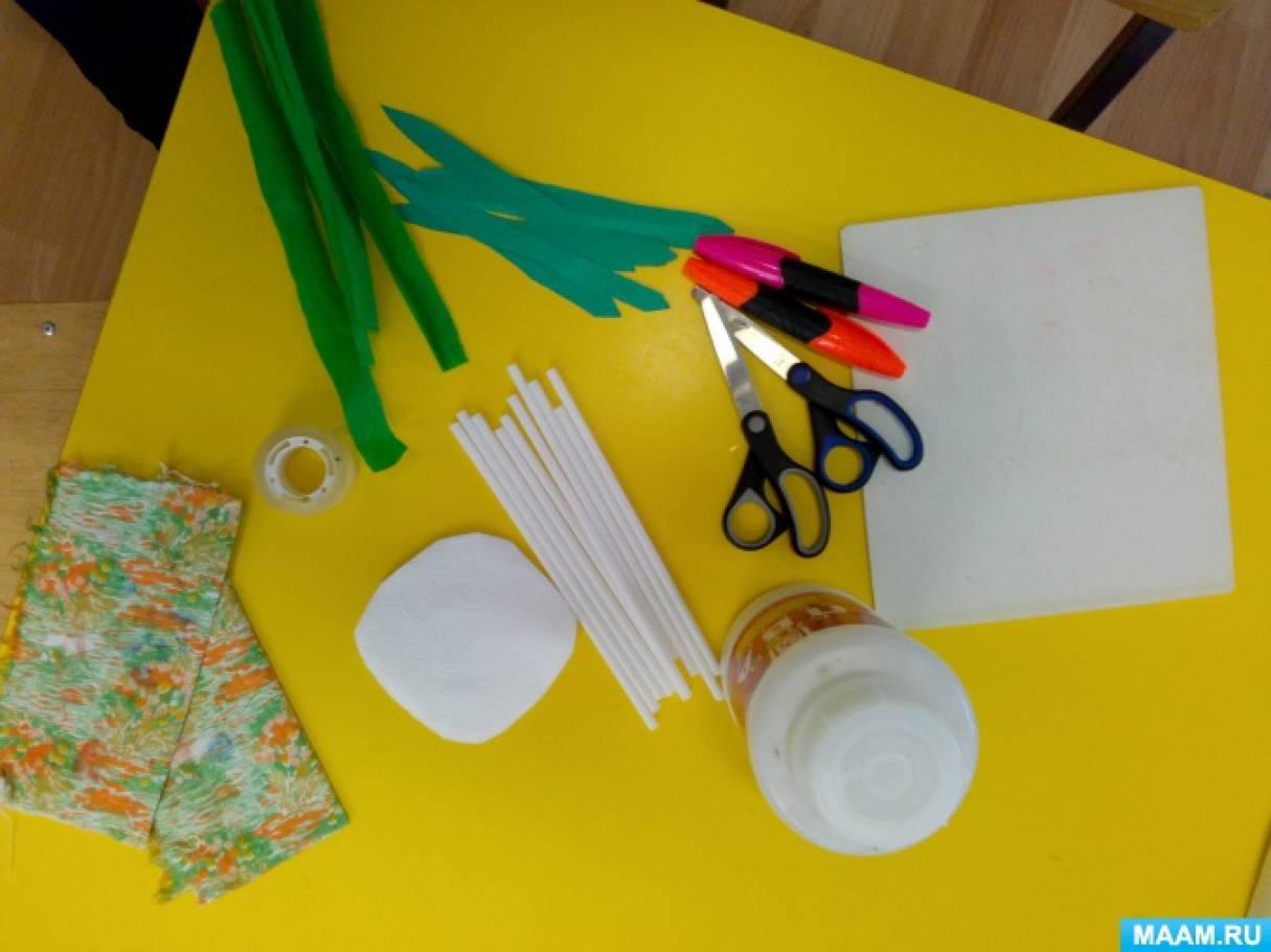 Конструирование из салфеток с детьми старшей группы. Мастер-класс «Цветы»