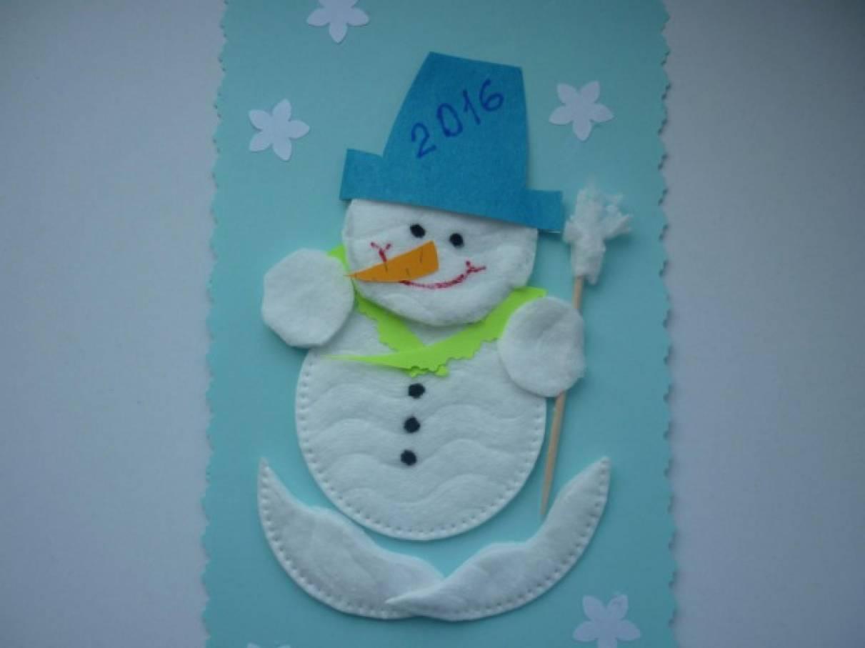 Дню рождения, открытка из ватных дисков своими руками снеговик