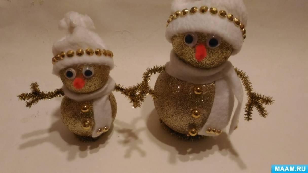 Мастер-класс по изготовлению поделки из новогодних шаров «Снеговичок»