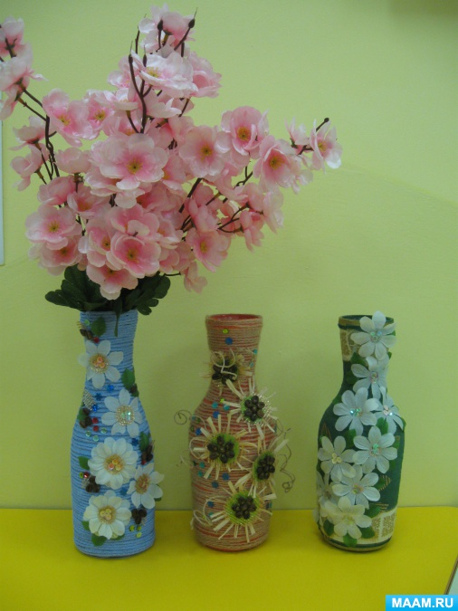 Мастер-класс по изготовлению вазы с оформлением из бумажного шпагата