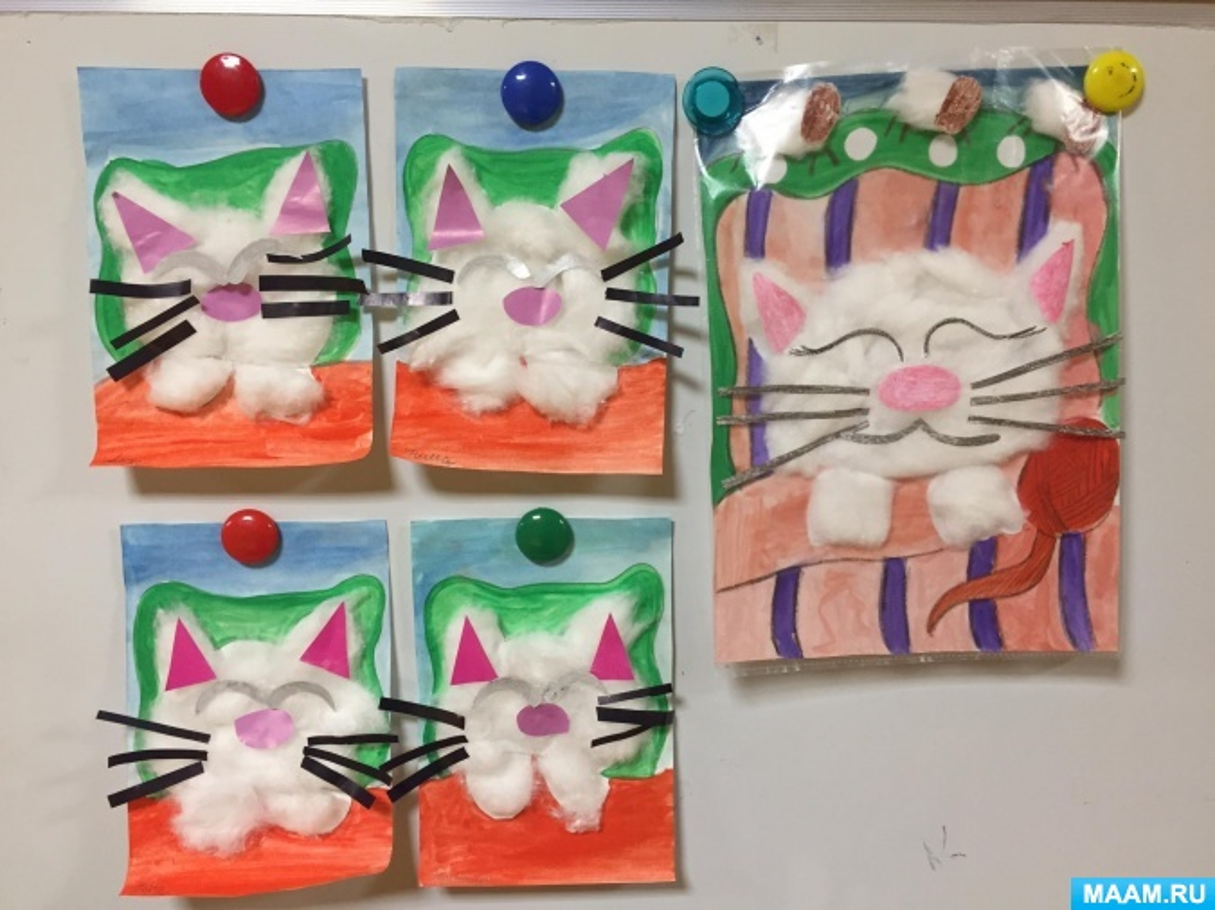 Конспект НОД по нетрадиционной аппликации из ваты «Кошка-сплюшка» в средней группе