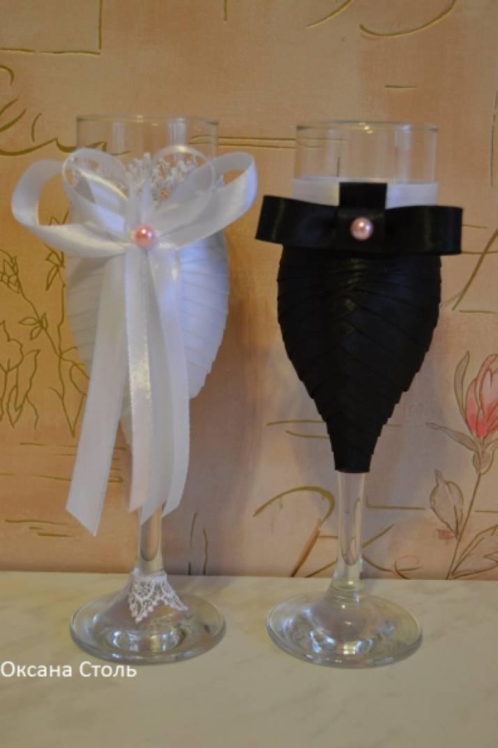 Свадебные бокалы жених и невеста из лент
