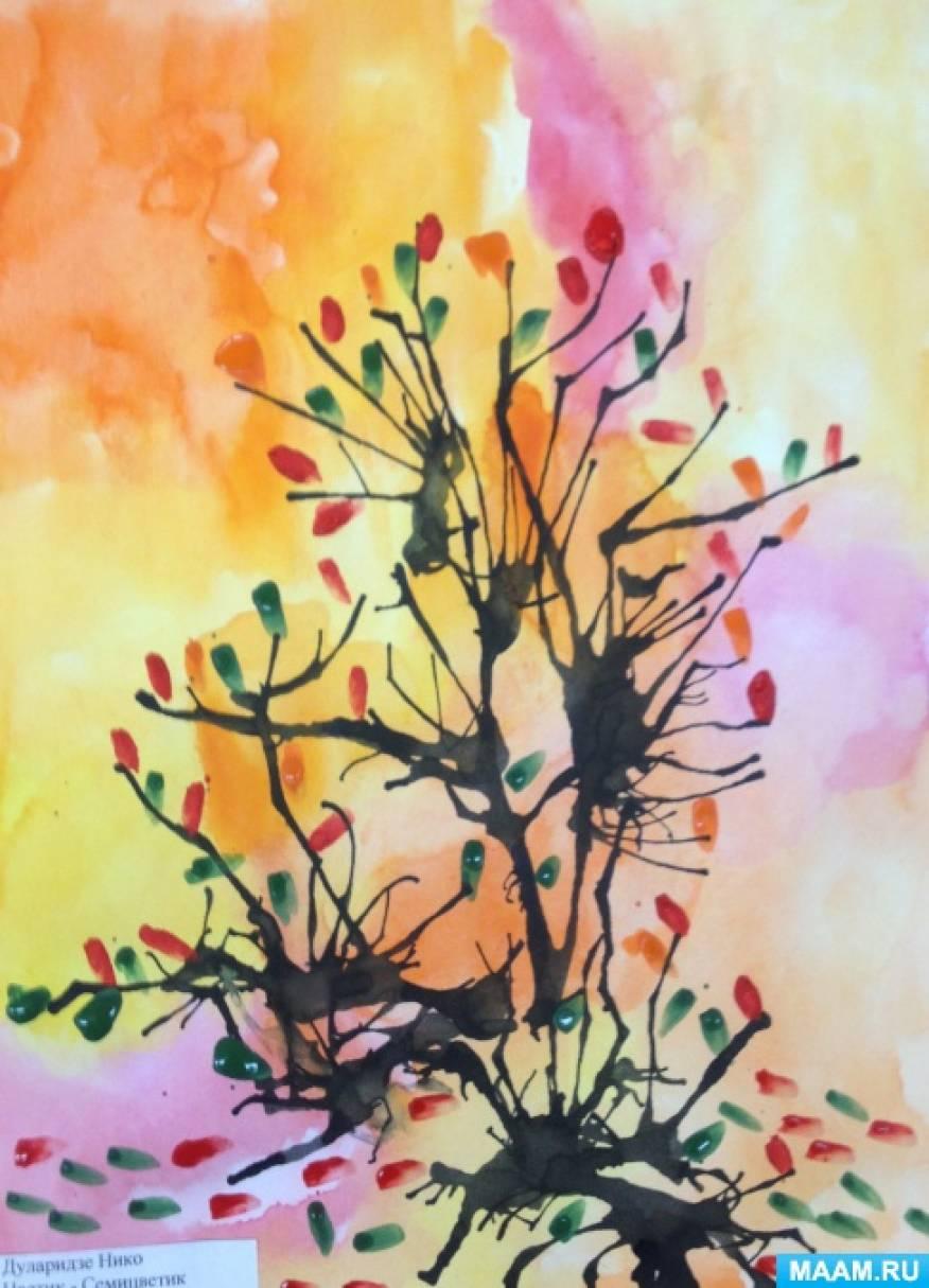 Конспект занятия в технике кляксография с трубочкой «Осеннее дерево»