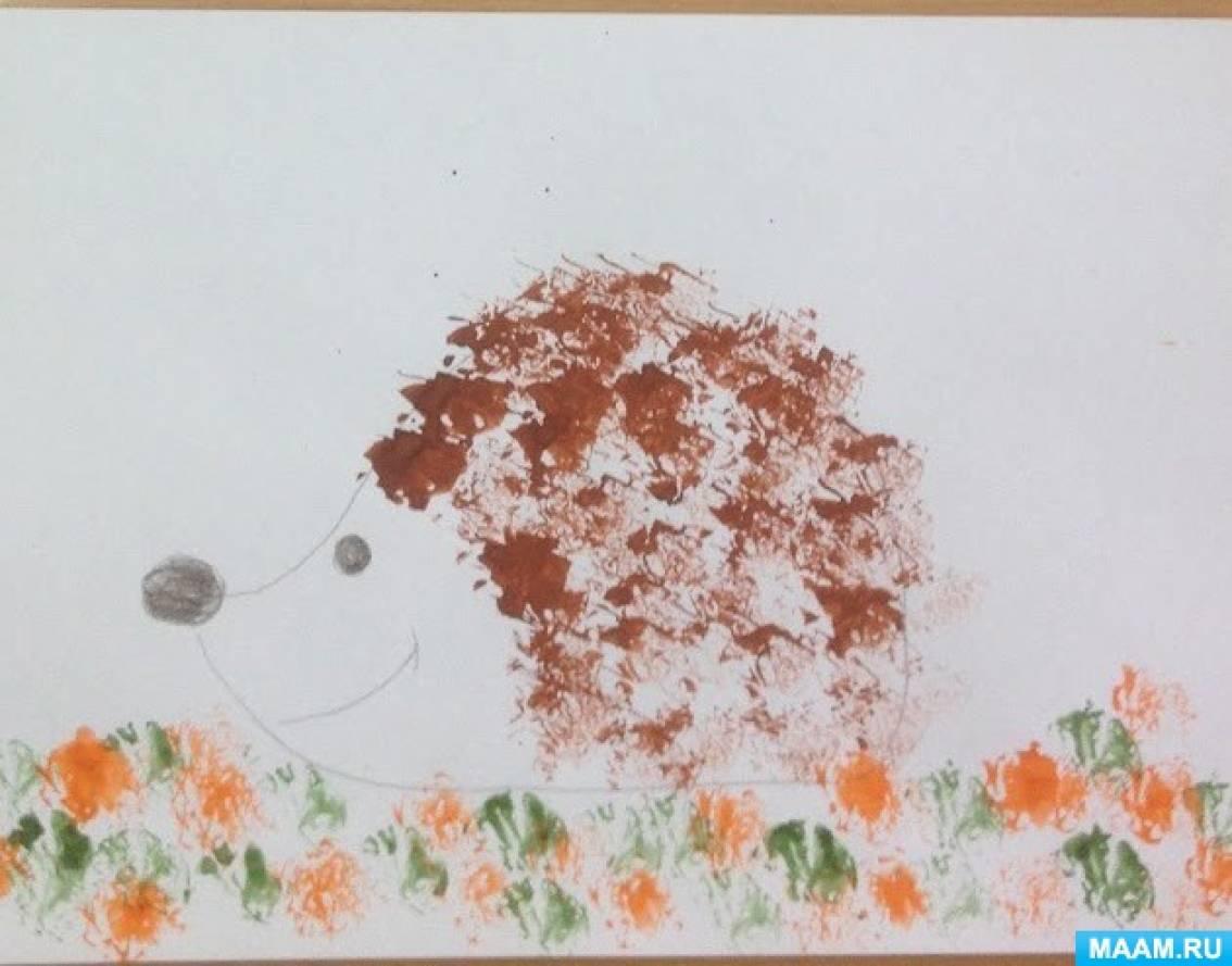 «Ежики» Рисунки детей в нетрадиционной технике.
