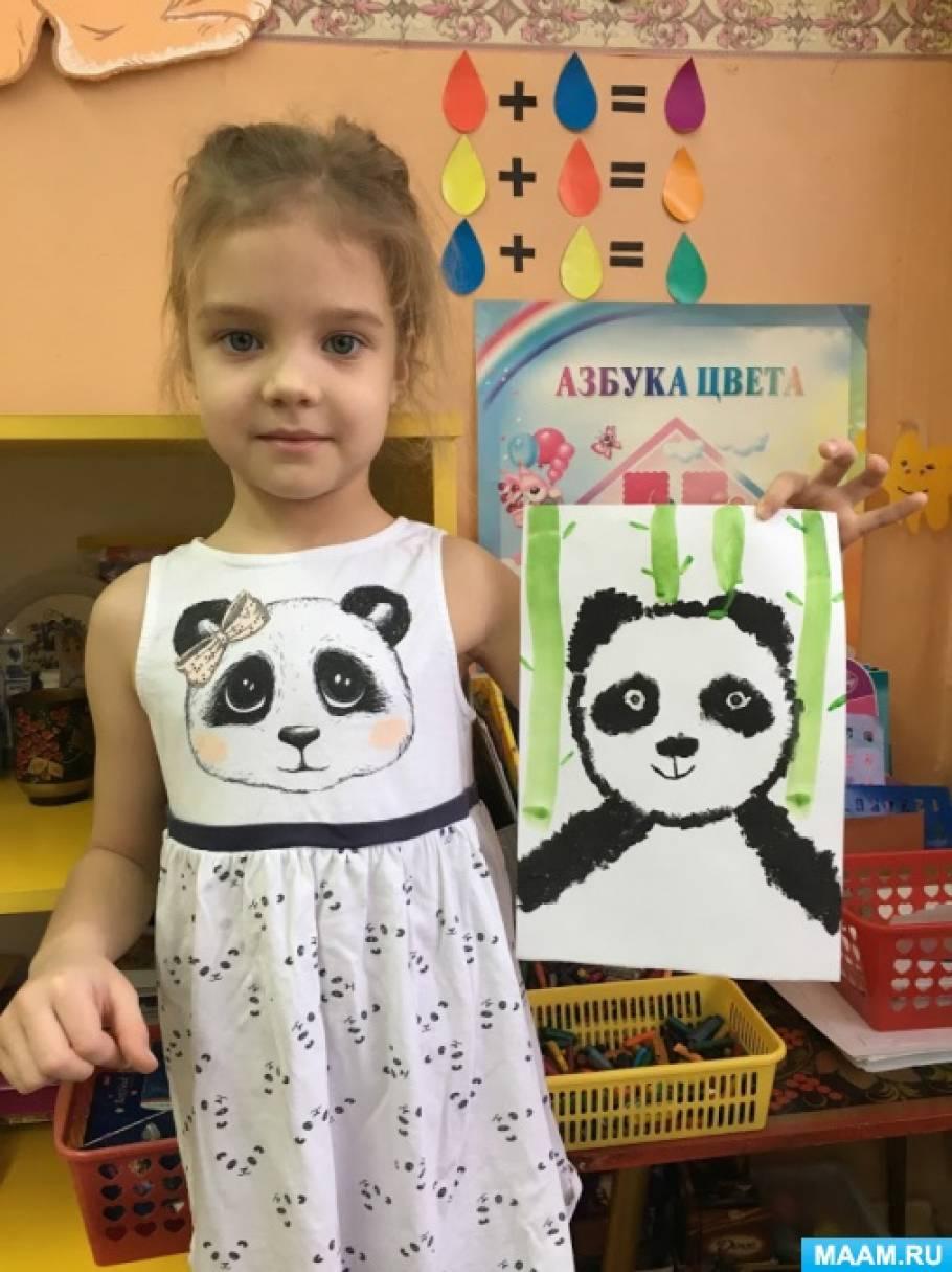 Фотоотчет с занятия по нетрадиционному рисованию «Панда»