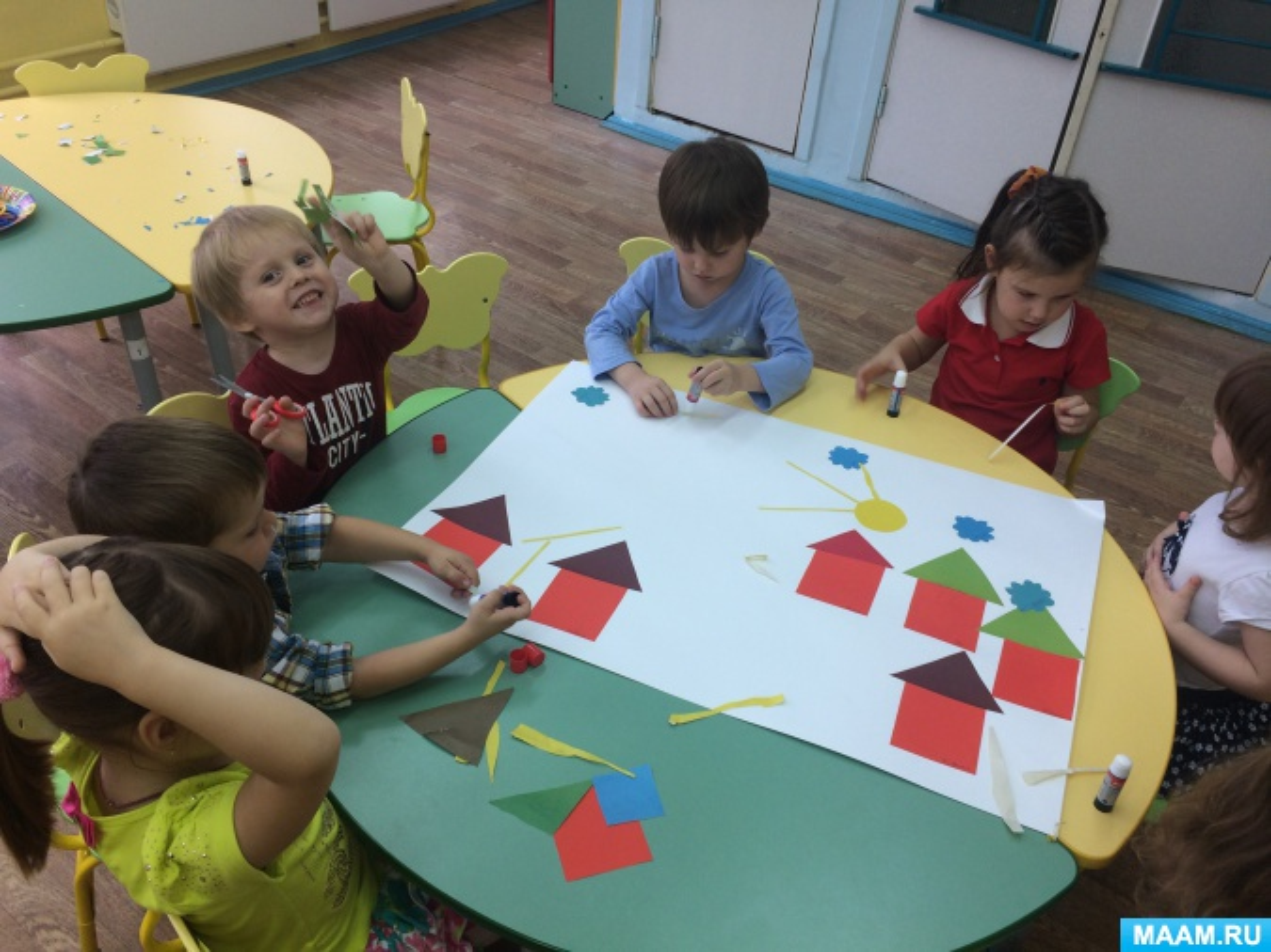 Коллективная работа «Деревня». Конструирование из бумаги в средней группе