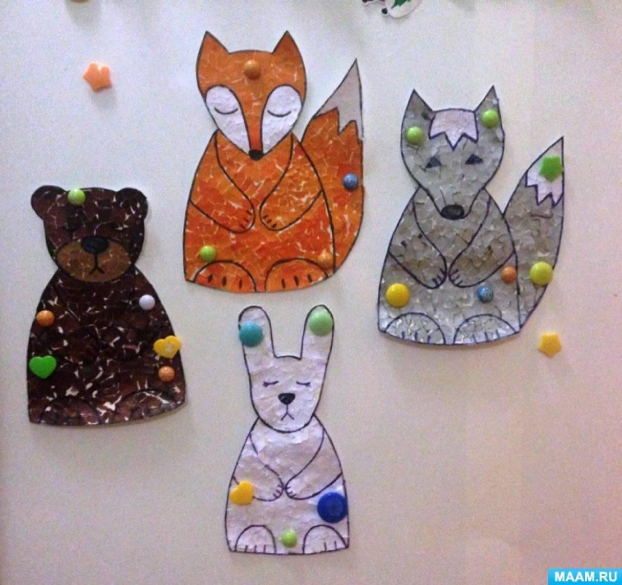 Обрывная аппликация «Зверята». Работы детей средней группы (4–5 лет) в рамках изучения темы «Дикие животные»