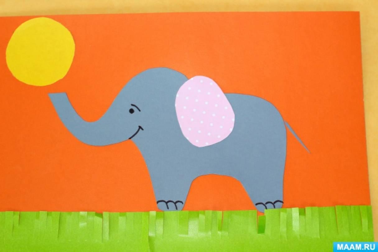 Слоники из цветной бумаги с клеем