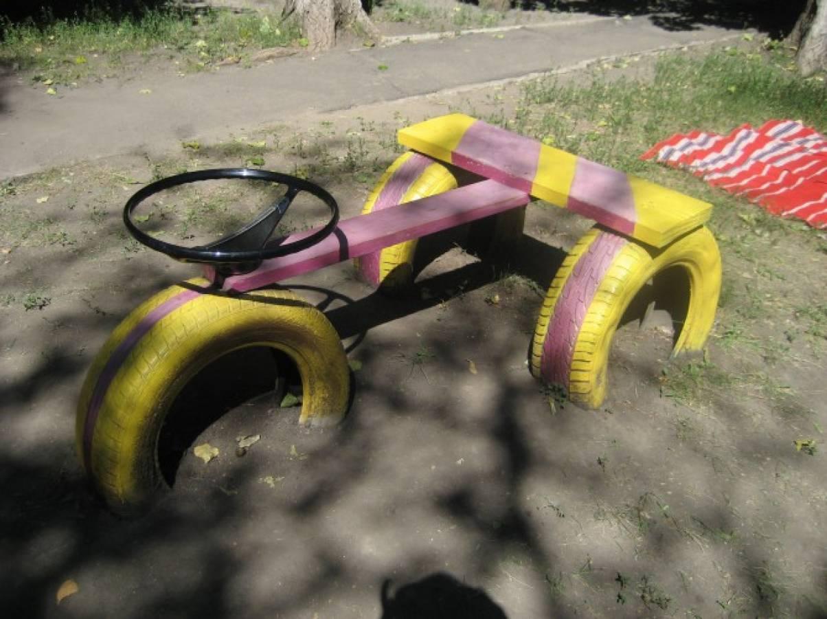 Детская машинка из шин своими руками фото 87
