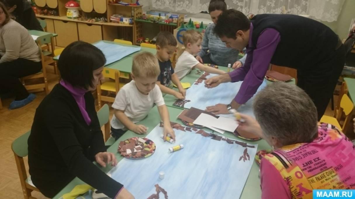 Мастер-класс для родителей с детьми средней группы «Снегири на ветке»