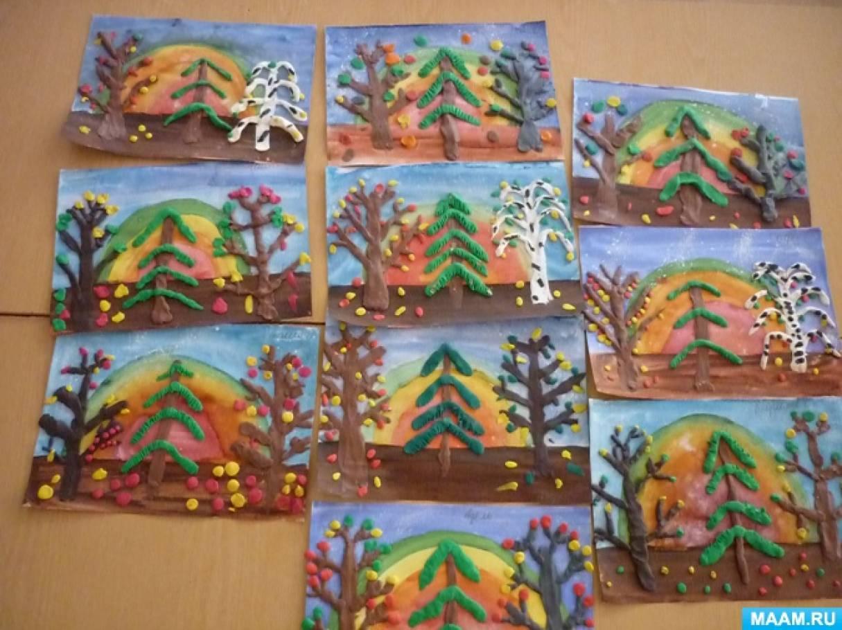 Конспект ООД по художественно-эстетическому развитию. Пластилинография «Разные деревья»