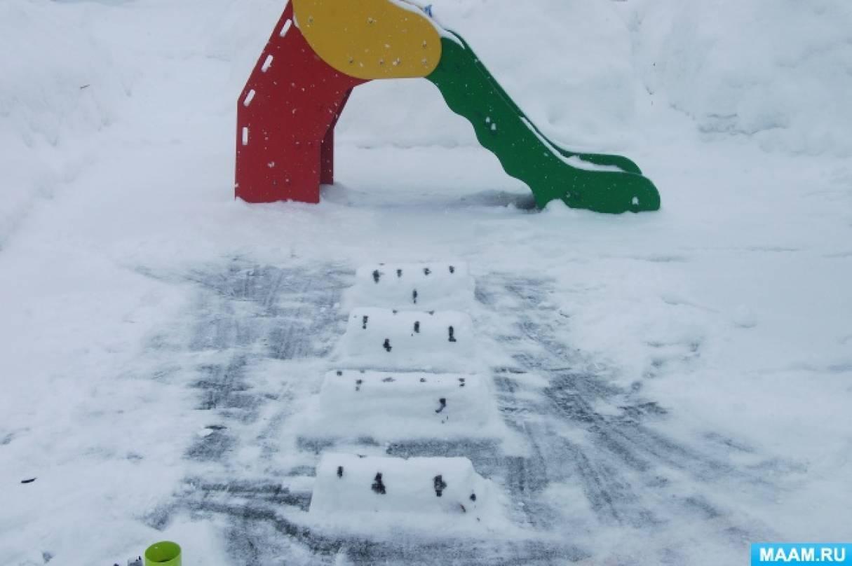 Оформление участка в ДОУ. Снежные постройки
