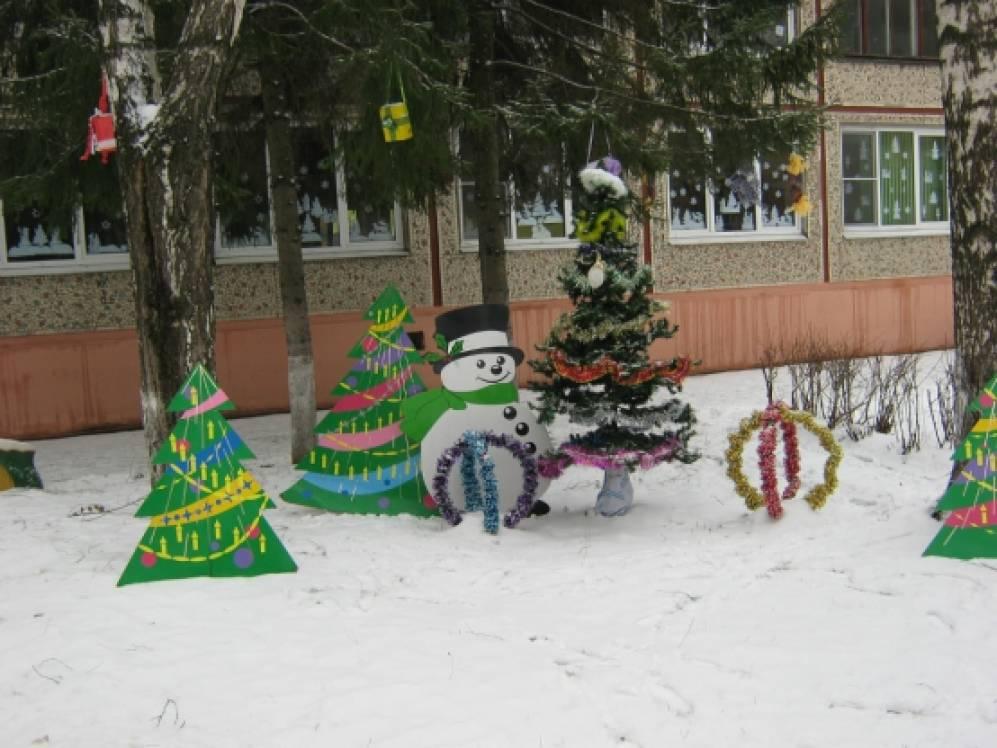 Оформление участков в детском саду к новому году своими руками фото