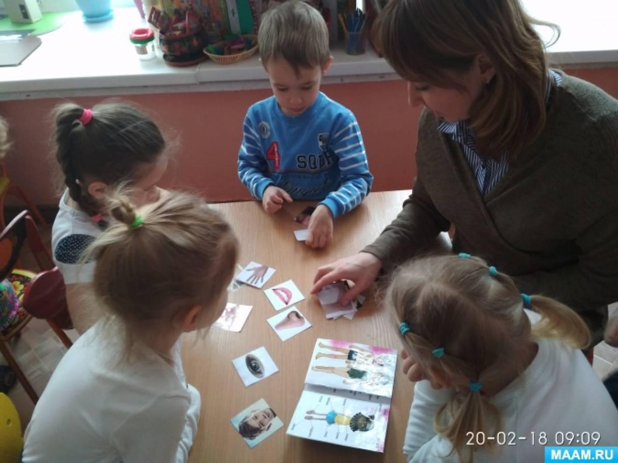Дидактическая игра «Части тела» (младшая, средняя группа)