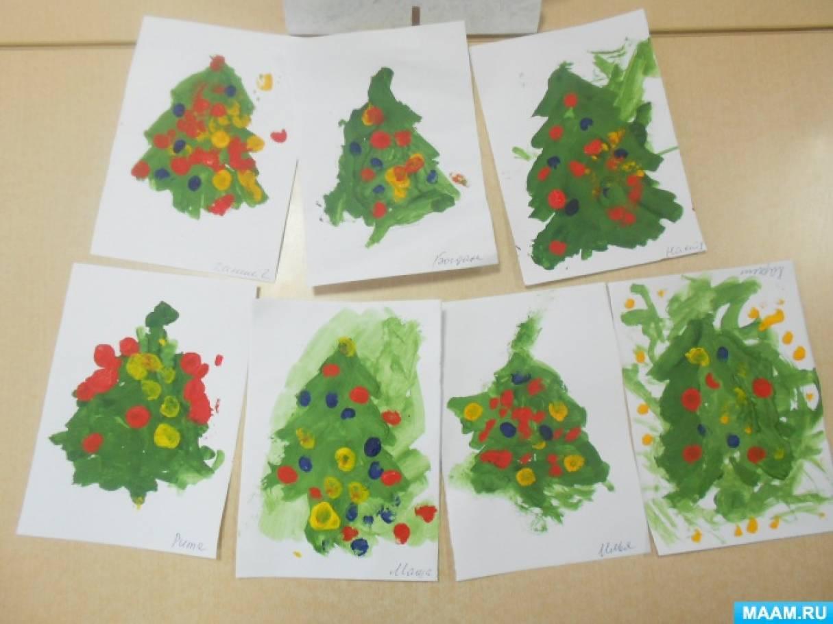 Конспект НОД по рисованию в первой младшей группе «Праздничная елочка»