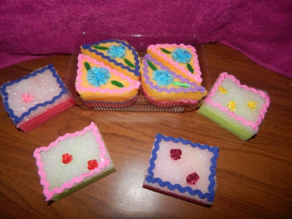 Пирожные из губки для мытья посуды своими руками