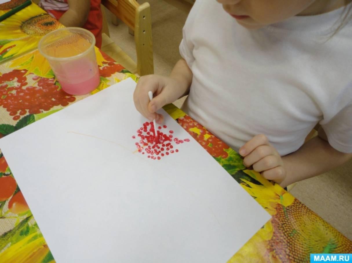 Конспект занятия по рисованию в нетрадиционной технике «Веточка рябины под моим окном» в средней группе.