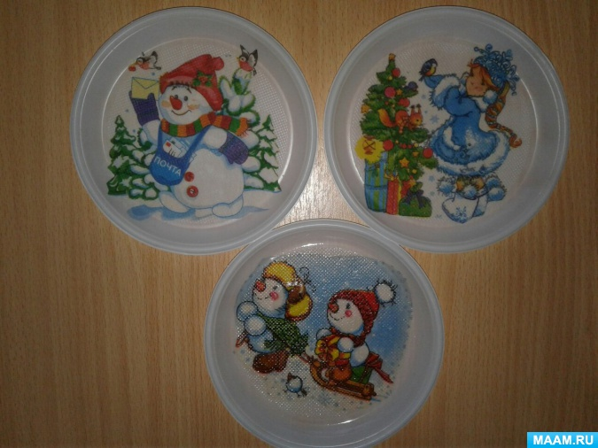 Декупаж в детском саду. «Зимняя тарелочка» (дети 4–5 лет)