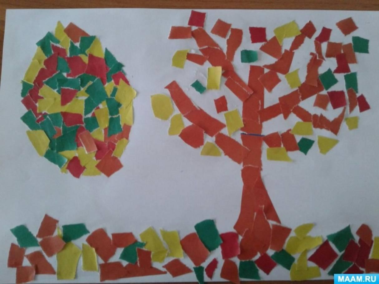 Аппликация с использованием обрывной бумаги «Осеннее дерево»