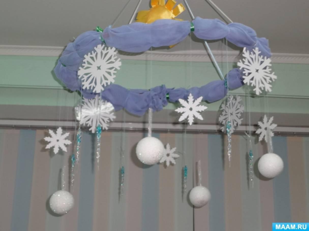 Зимнее украшение детского сада