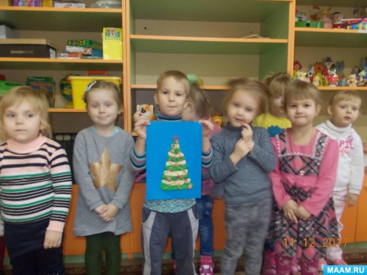Коллективная работа «Новогодняя елка» в технике пластилинографии (вторая младшая группа)