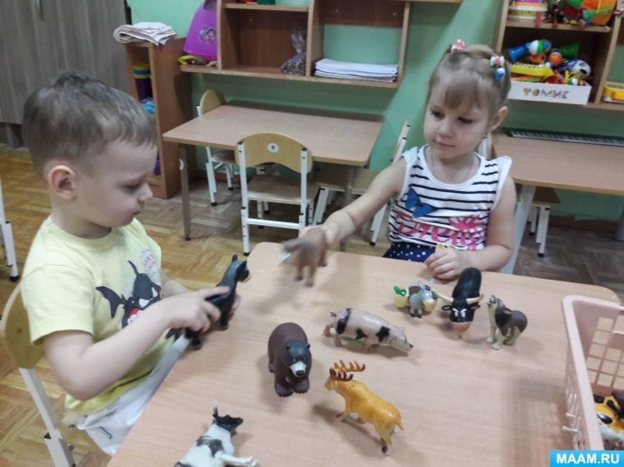Конспект занятия «Дикие животные и их детёныши»
