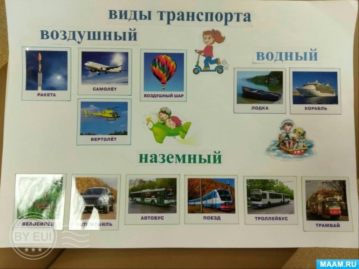 Наглядно-познавательное пособие «Виды транспорта» в группе среднего возраста