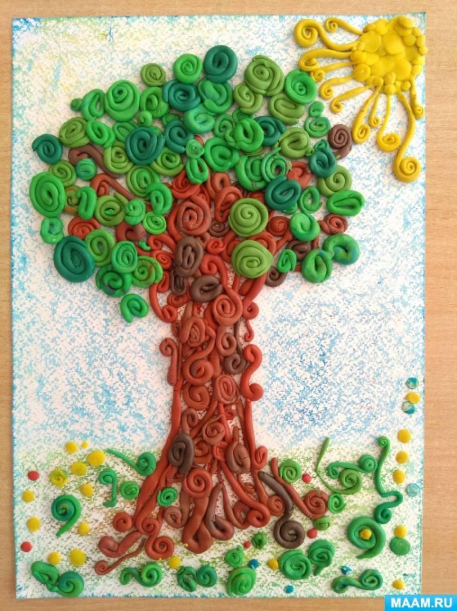 Конспект НОД по пластилинографии с детьми 3–4 лет «Весеннее дерево»