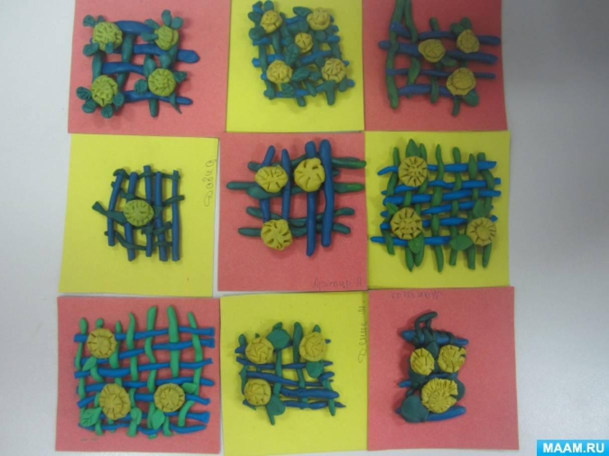«Весенний ковер». Фотоотчет о занятии по декоративной лепке из цветного пластилина