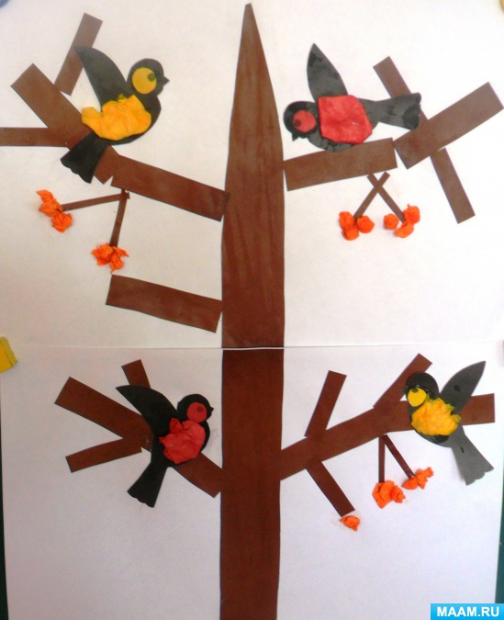 Конспект НОД по конструированию из бумаги в средней группе Тема «Птицы на ветке»