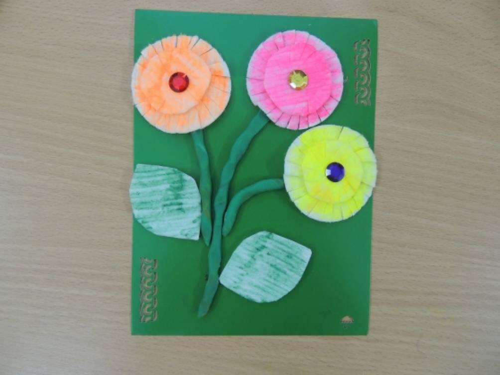 Как сделать открытку из ватных палочек и дисков 40