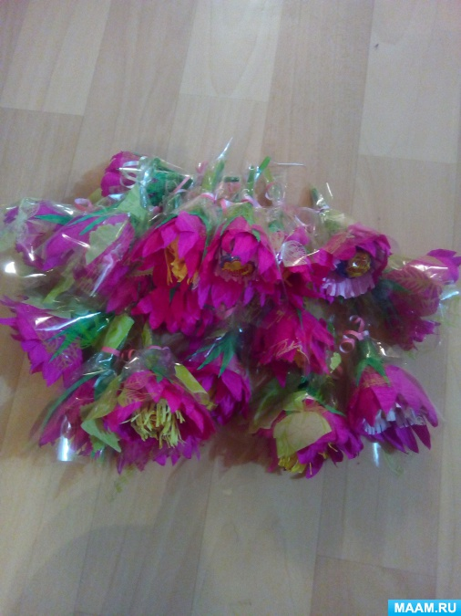 Мастер-класс в технике свит-дизайн «Цветок из чупа-чупса»