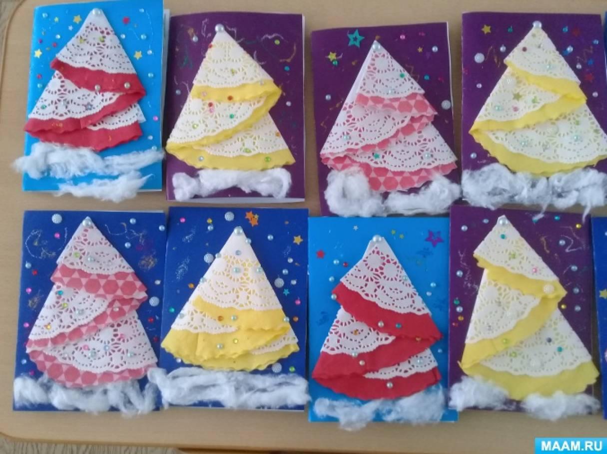 мастер класс по изготовлению новогодней открытки своими руками из салфеток выкидывать
