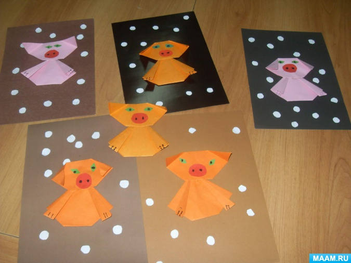 Детский мастер-класс по оригами «Портрет Пятачка»