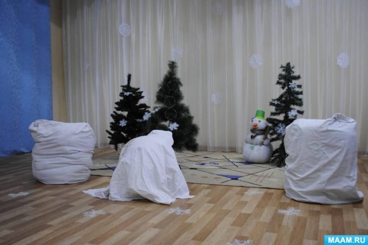 Фоторепортаж с зимнего физкультурного досуга со снеговиком во второй младшей группе.