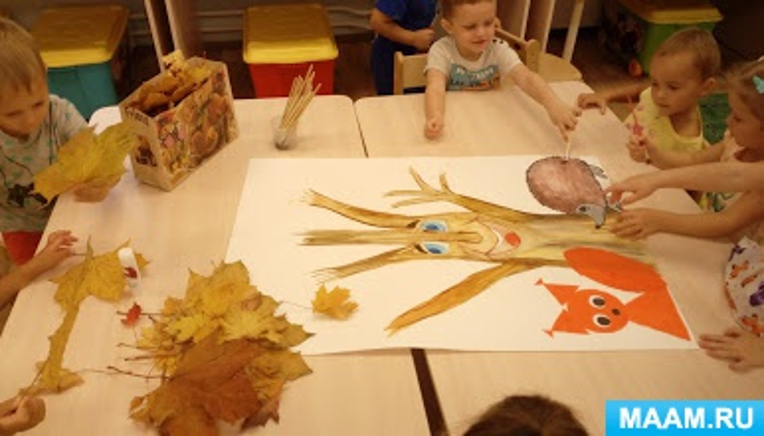 Коллективная аппликация из листьев во второй младшей группе «Осеннее дерево»