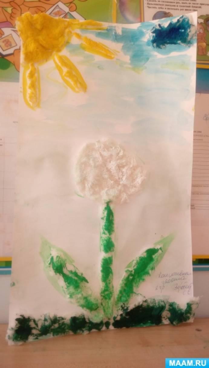 Аппликация из ваты «Весенние цветы. Одуванчик»