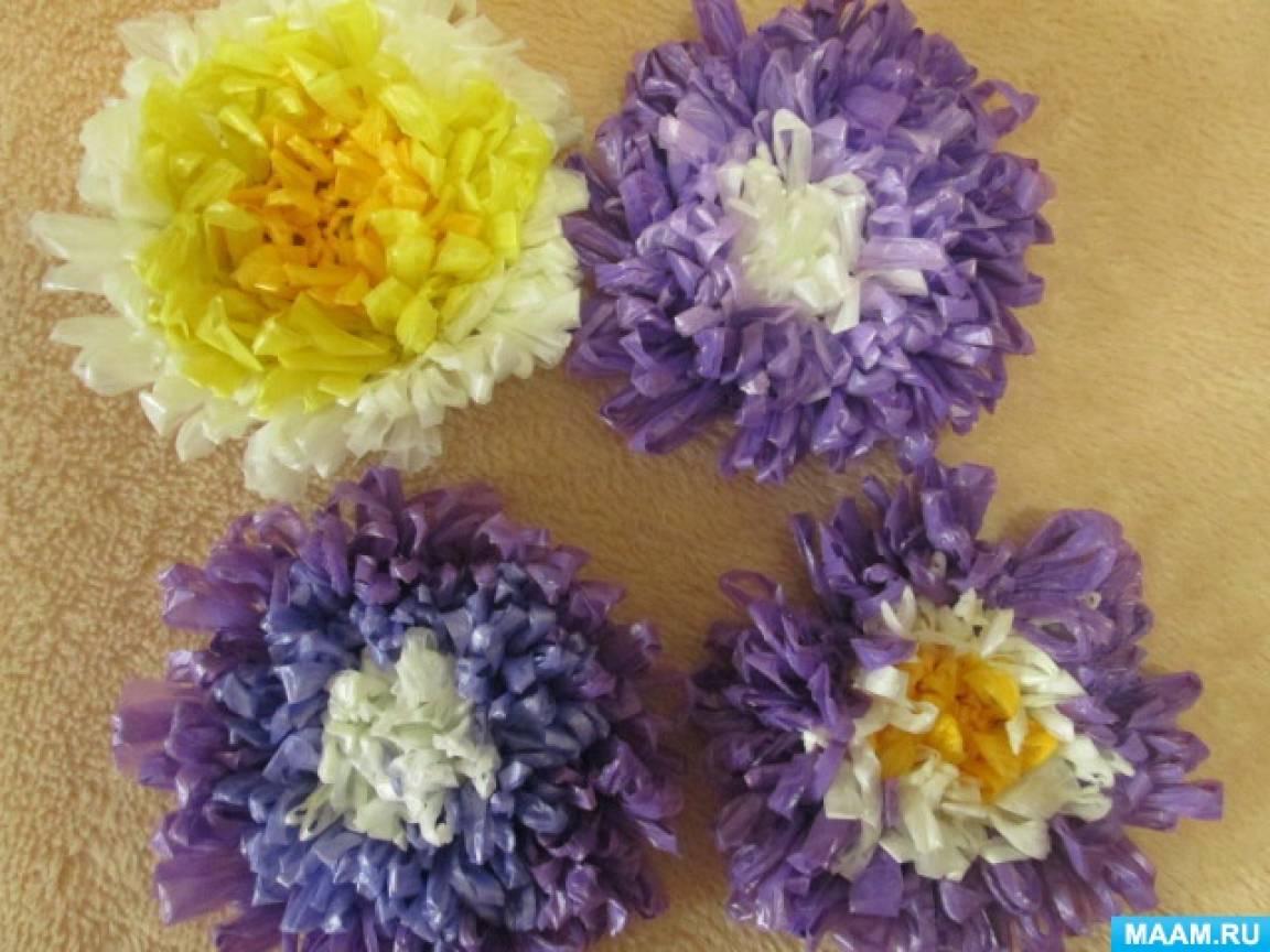 Как сделать из мусора цветок 70