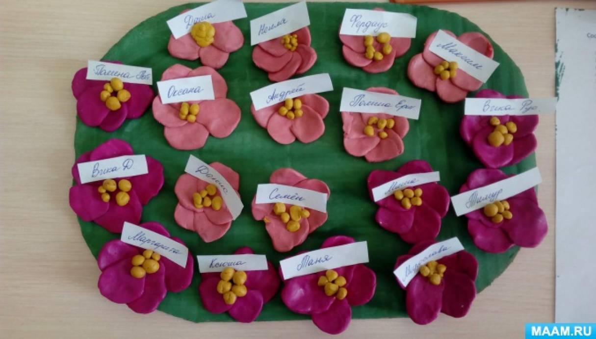Конспект занятия по лепке в средней группе «Цветок фиалки»