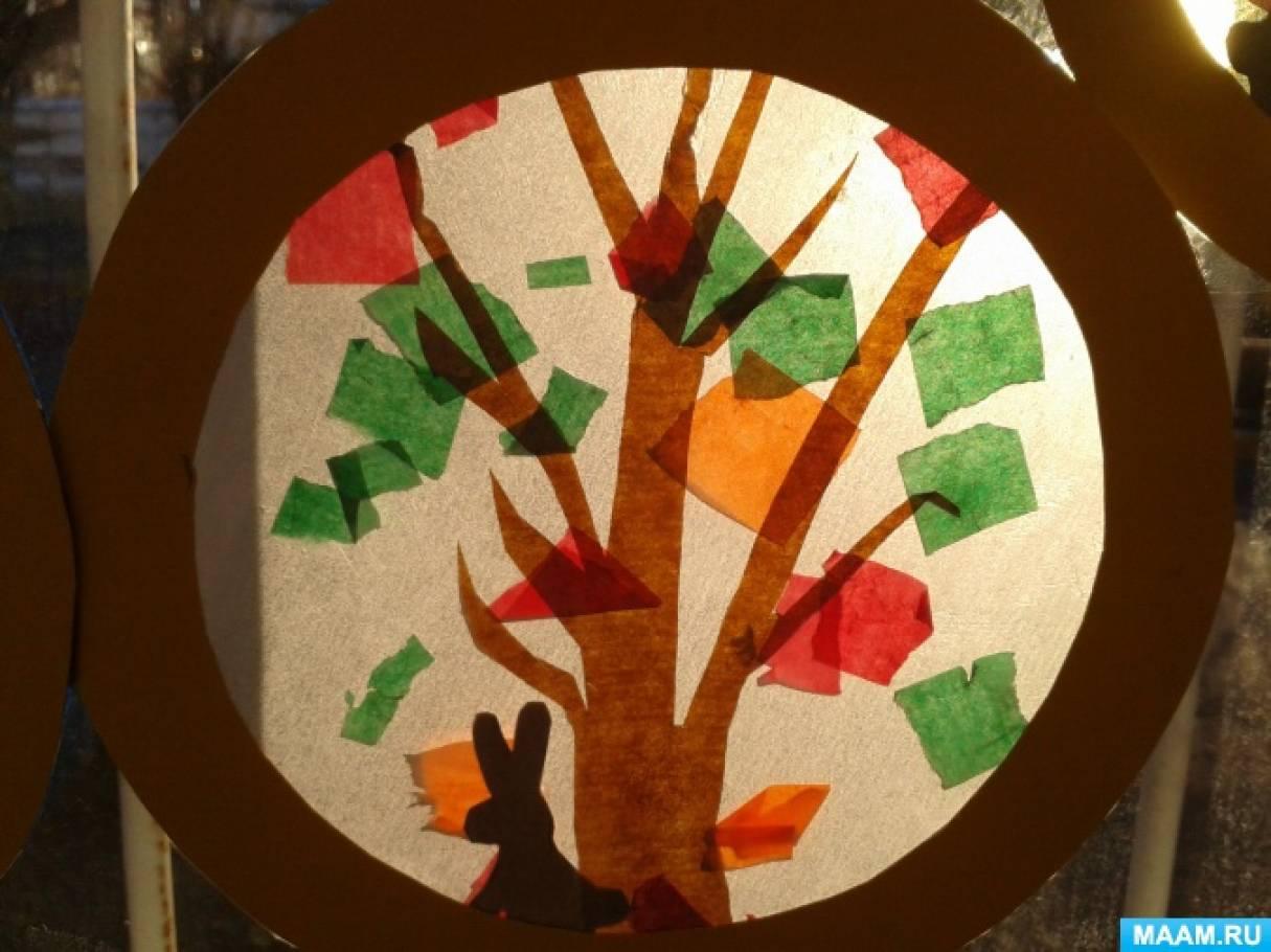 Мастер-класс с детьми младшей группы «Осенний витраж»