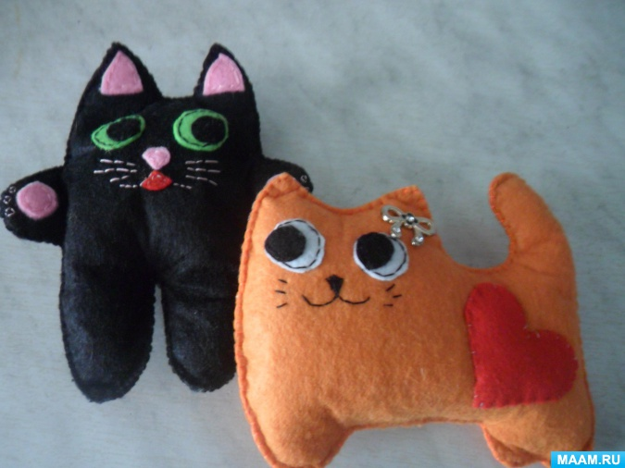 Мастер-класс из фетра «Два котика»