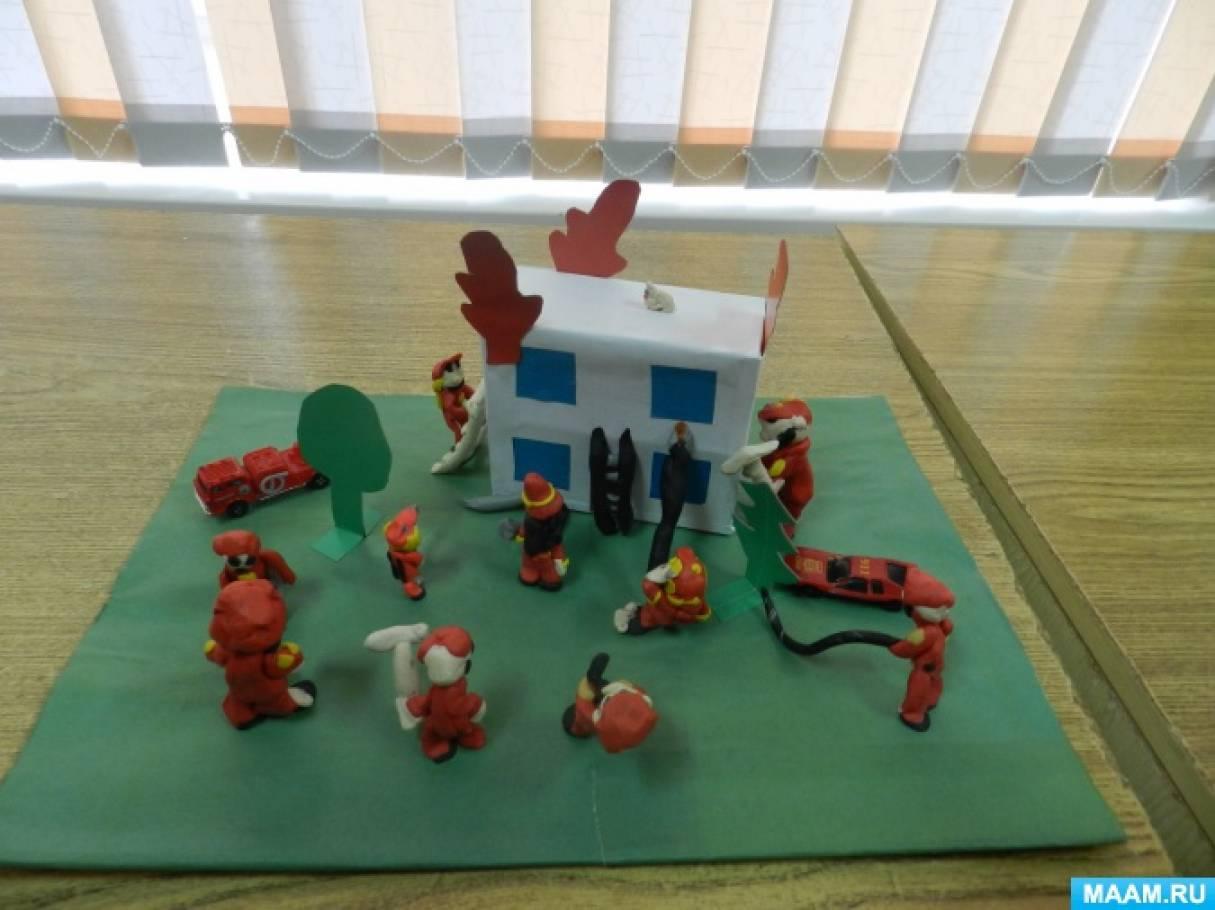 Коллективная работа по лепке «Пожарная команда».
