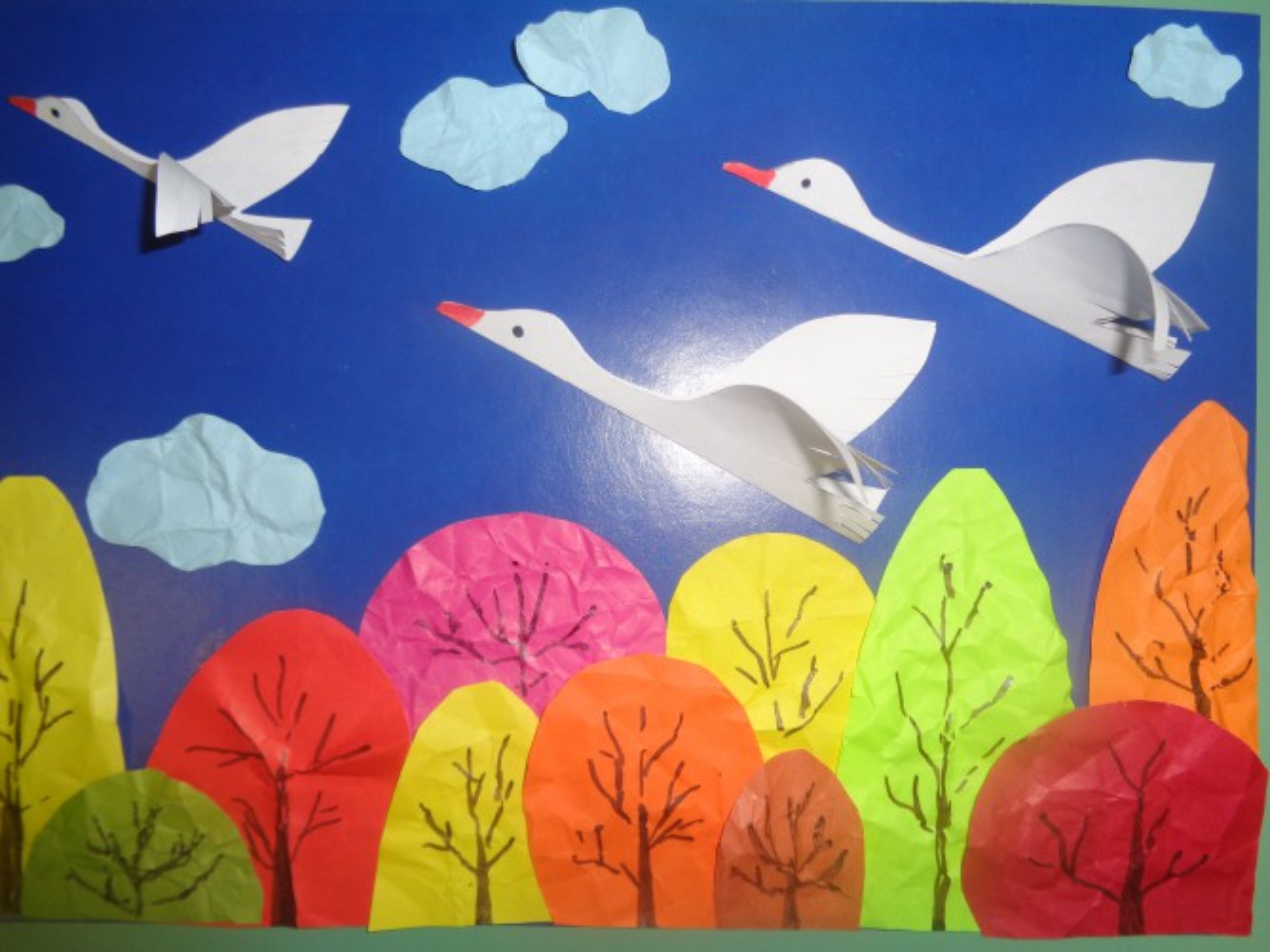 Птица осень рисунок