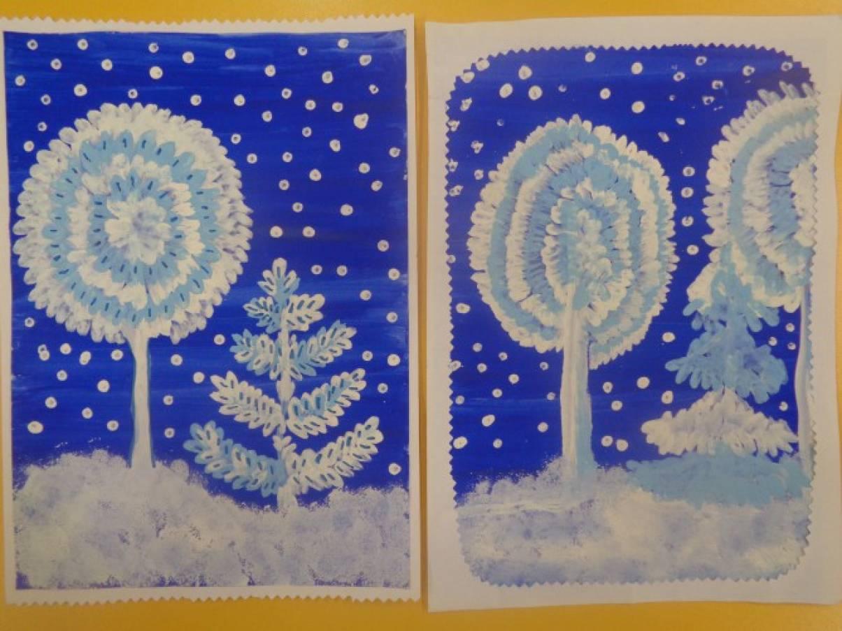 Рисование зимних деревьев в 1 классе