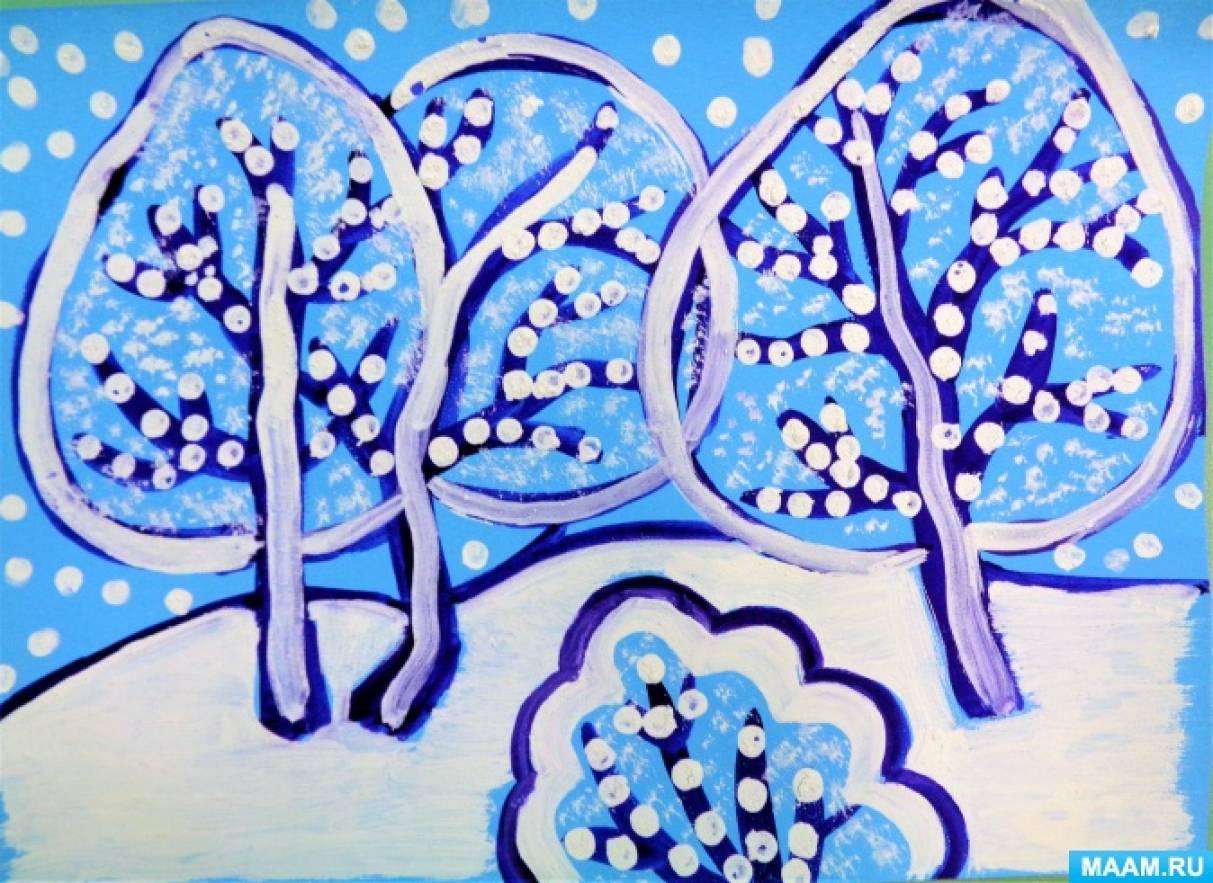 Рисование с использованием нетрадиционной техники изображения «Вот и зимушка настала. Всё кругом, как в сказке стало»