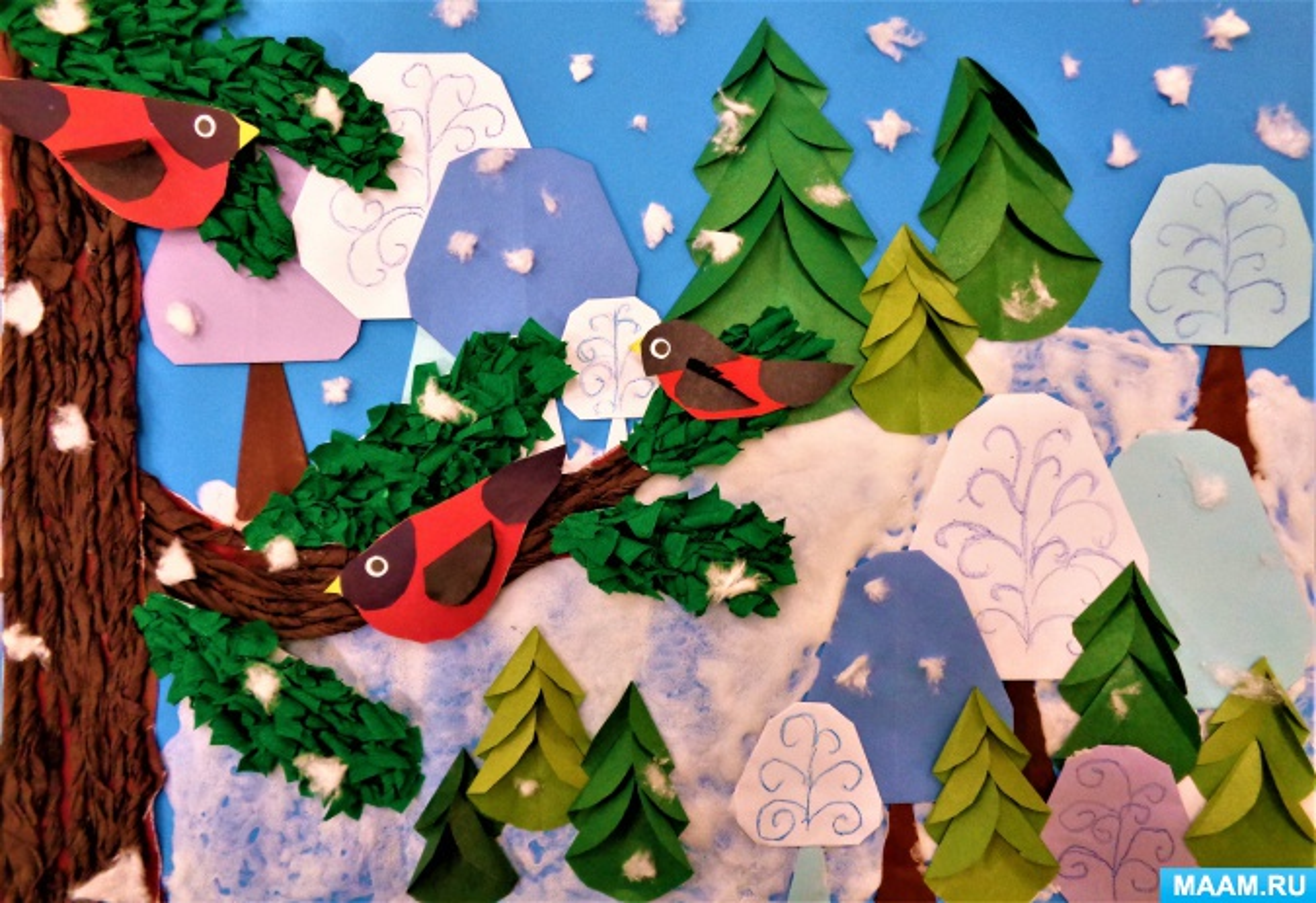 Коллективное творчество детей. Аппликация «В лесную чащу тихо вошла зима-портниха» (старшая логопедическая группа)