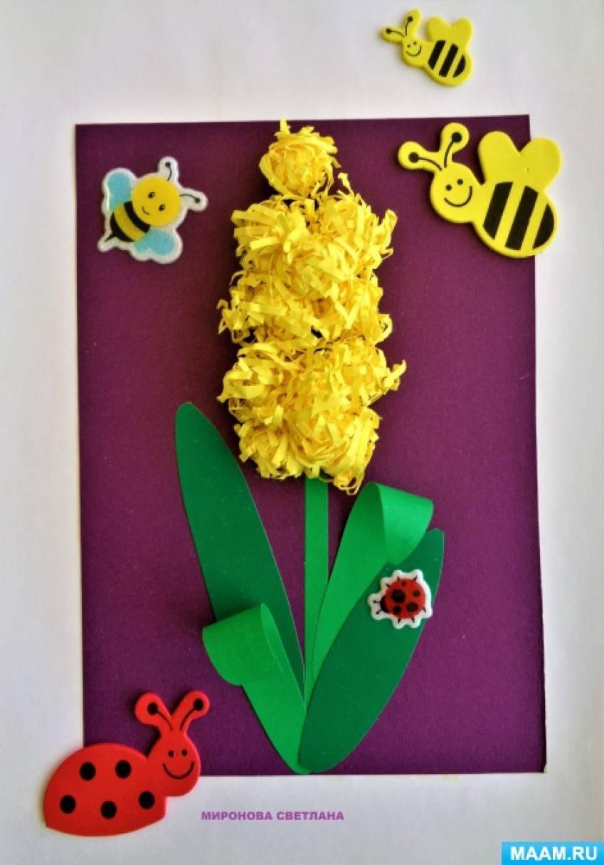 Мастер-класс. Аппликация с использованием бумажных салфеток «Цветок дождя-гиацинт» с детьми старшей логопедической группы