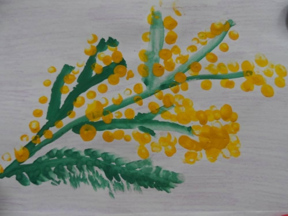 Картинка цветок мимоза рисование ватные палочки