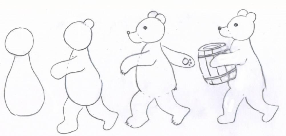 Схема рисования медведь