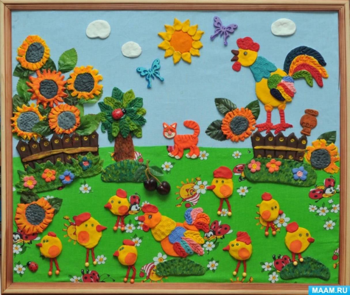 Картина из соленого теста для оформления групповой комнаты «Курочка с цыплятами»